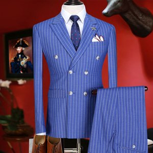 mens suits with pants double breasted 2018 new arrivals slim fit men suit summer groom wear blue stripe blazer pant 3xl plus