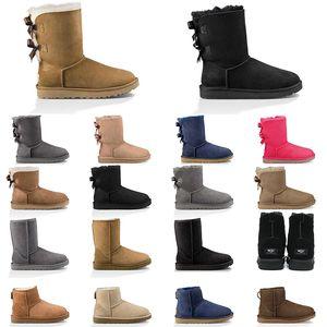 2020 deportes de la nieve de Australia botas de mujer castaña botas para la nieve marrón rosado azul marino de moda negro clásico tobillo bota corta para mujer de los zapatos del invierno