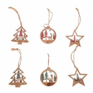 6PCS Albero di Natale tridimensionale Hollow Deer pendente di colore di legno Round Ornament Nyaa #