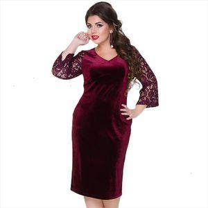 2020 Large Size Thicken Lace Autumn Winter Women Velvet Dress L 6xl Female Clothing Plus Size Red Tunic Dress Vestidos
