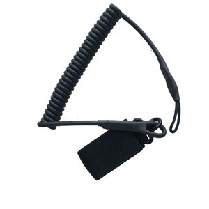 Tactical Elastic Pistol Lanyard Sling Handgun Secure Sprin Retention Rope Anti-lost Keychain Gear Hunting Accessories