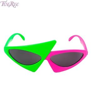 Güneş Gözlüğü Asimetrik Yenilik Üçgen Gözlük Fengrise Roy Komik Kontrast Hip-Hop Yeşil Purdy Pembe Parti Süslemeleri OOODL