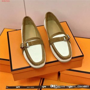 Autumn and winter color matching casual shoes,Lady leather flat bottom loafers shoes, lazy driving shoes With original box 34-42
