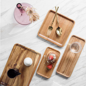 Lovesickness Wood Solid Wooden Pan Whole Wood Plate Fruit Dishes Saucer Tea Tray Dessert Dinner Plate Square Shape Tableware Set