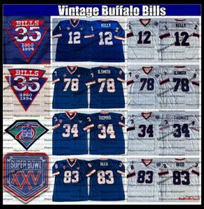 Vintage 1994 XXV fútbol jerseys para hombre 35a 12 Jim Kelly 34 Thurman Thomas 78 Bruce Smith 83 Andre Reed cosido camisas AB1