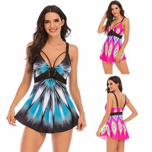 2020 new European-style split skirt swimsuit sexy geometric patterns fold large size of foreign trade bikini Amazon