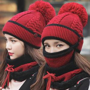 Rimiut Mode Chapeau Hiver Femmes Foulard Masque trois-pièces coupe-vent Antigel Bonneterie Chapeaux chaud
