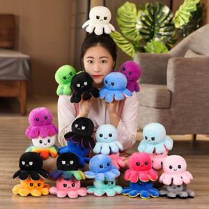 Flip reversível Octopus Stuffed Plush Doll macio Simulação reversível Plush Toys Cor Capítulo boneca de pelúcia para crianças Brinquedos