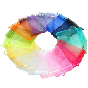 200pcs Colorful Organza Wedding Jewellery Gift Pouch Favour Bag 7x9 9x12 10x15 11x16 13x18 15x20 17x23 20x30 30X40cm