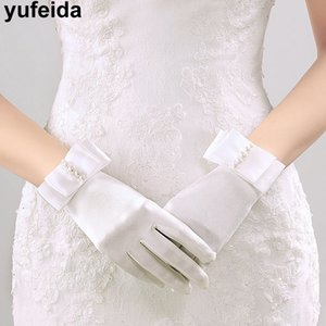 Accessories Womens Wrist Length Gloves With Pearls For Party Dress Finger Gloves Beach Countryside Elegant Mittens