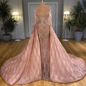 2021 Spaghetti Long Sleeve Evening Dresses With Pearls Illusion Overskirt Sexy Prom Gowns Customise Robe De Soiree