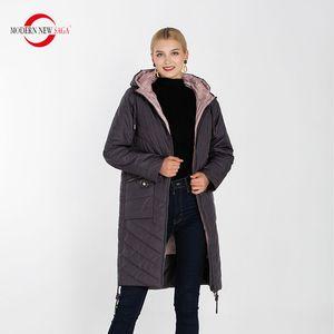 MODERN NEW SAGA Women Coat Long Jacket Autumn Cotton Padded Coat Parka Women Quilted Coat Overcoat Plus Size Ladies Coats 201026
