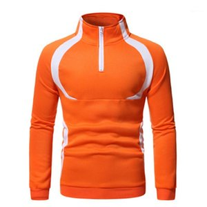 Color Long Sleeve Pullover Hoodies Designer Male New Spring Loose Casual Hoodies Man Zipper Splicing Sweatshirts Fashion Trend Contrast