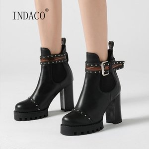 2020 Women Boots Rivets Buckle Ankle Boots Platform High Heel New Designer Party Shoes Female