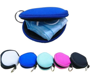 RTS Mask Holder storage box Plain Color For Sublimation Waterproof Earbud Case Bag Neoprene Zipped Coin Purse Face Cover Bag With Keyring