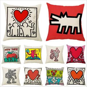 Coussin Coussin Coussin Keith Haring Jetez taie d'oreiller Coque Voile Vintage Nordic Moderne Coussin Housse de coussin pour canapé Couvercle d'oreiller décoratif
