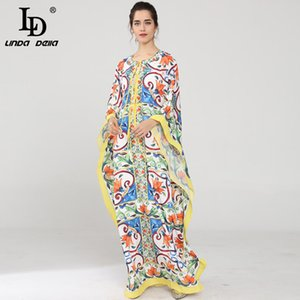 LD LINDA DELLA New Runway Maxi Dress Women's Batwing Sleeve Halter Loose Ruffles Casual Floral Print Boho Beach Long Dress 200929