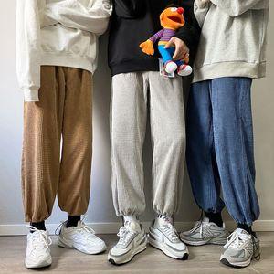 Privathinker Herren Festfarbe Gerade Haremhose Koreaner Mann Lose Corduroy Herbst Winter Streetwear Männliche Casual Pants F1225