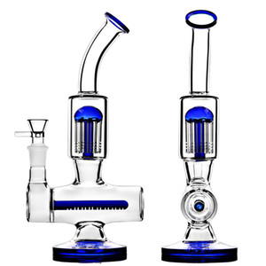 Blue Bong Glass Water Bongs Recycler Dab Rig Arm Tree Inline slitted diffuser Water Pipe Hookah With Bowl