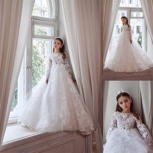 White Flower Girls Dresses Long Sleeves Full Appliqued Lace First Communion Dress Elegant Chic Custom Made Wedding Pageant Dress