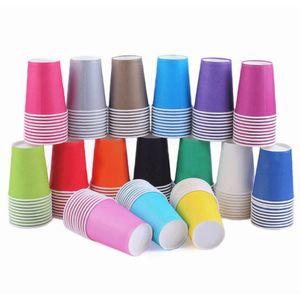 10pcs couleur pure couleur jetable tasses de papier Juice Coupe de bricolage décoration bébé Douche de bébé enfants anniversaire mariage pique-nique vaisselle fournisseur f wmtrjt