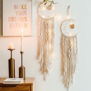 Nordic Star Moon Macrame Dream Catcher Christmas Room Decoration Boho Room Decor Girls Kids Nursery Gifts