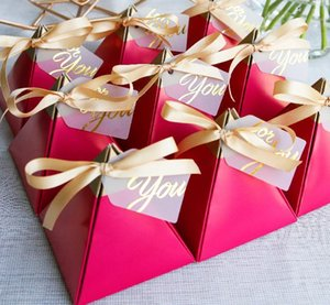 New Creative Wedding Favors souvenirs Gift Box Chocolate Box Rose Red Triangular Pyramid Birthday Party Sweet Candy Gift