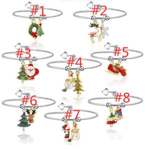 2020 2021 Christmas Jewelry Bracelet Santa Clause Reindeer Xmas Tree Cane Pendant Bangle Wrist Bracelets Metal Ring Wristband Toys LY11091