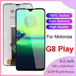100 % 모토로라 G8 재생 LCD 디스플레이 원래 무료 배송 모토 G8 재생 LCD 디스플레이 터치 스크린 Digiziter 어셈블리 교체를위한 테스트
