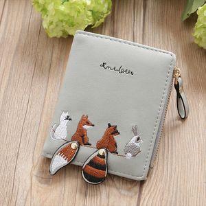 New Women Wallet Lovely Cartoon Animals Wallet Women Short Leather Wallets Zipper Purses Portefeuille Female Purse Clutch
