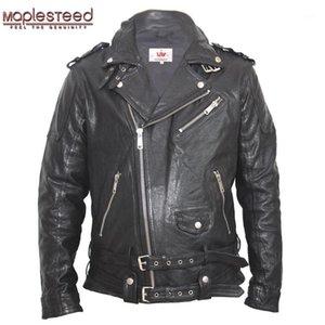 Chaqueta de cuero bronceado mapseeed moto negro rojo verde delgado vintage abrigo de cuero hombres chaqueta motocicleta ropa de motocicleta invierno M1451