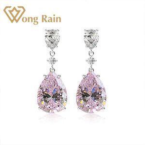 Wong Rain Luxury 100% 925 Sterling Silver Created Moissanite Gemstone Birthstone Drop Dangle Earrings Fine Jewelry Wholesale