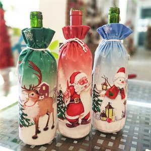 Christmas Decoration articles Creative Santa Claus red wine bottle set Xmas wine gift bag Christmas party Wine Bottle Decoration DC013