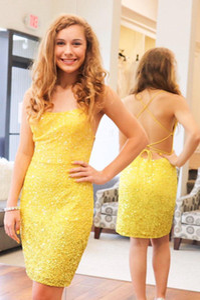Elegant New Design Yellow Sequins Short Prom Dress Spaghetti Straps Women Party Dresses Cocktail Dresses Custom Made L122