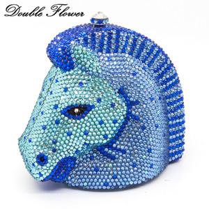 Double fleur Dazzling 3D Horse Head Shape Femme Bleu Cristal Soirée Embrayage Minudubere Sac à main Mariage Porte-moutons Diamant C0121