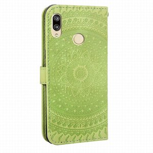 Phone Case For Huawei P Smart P30 P20 Mate 20 Pro Honor 10 9 Lite 8X Y6 Y7 2019 Simple Mandala Embossing Wallet Cover V22F