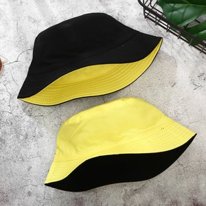 Double-sided Wearing Cap Visor Solid Color Bucket Hat Men And Women Cotton Flat Sun Hat Reversible Fisherman Hat Bucket Cap DDD3632