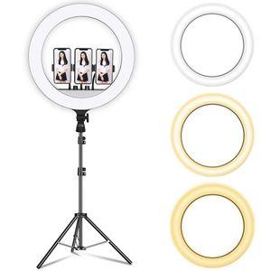 Luz de anel de 18 polegadas em iluminação fotográfica dupla video telefone móvel LED anel luz com 2,1 m tripé stand beleza auto