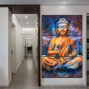 3 Pieces Abstract Mediting Buddha Painting Canvas Print Wall Picture For Living Room Decor Canvas Painting