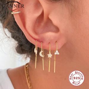 CANNER 100% Real 925 Sterling Silver Crystal Zircon CZ Drop Earrings Flower Star Moon Long Chain Ear Wire Brincos Fine Jewelry