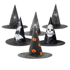 Halloween Decoration Peaked Cap Skull Pumpkin Spider Net Bat Random Pattern Wizard Witch Hat Decoration Hat