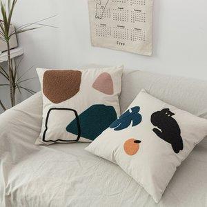 베개 케이스 홈 간단한 기하학적 던지기 사랑스러운 면화 수건 수 놓은 베개 노르딕 장식 쿠션 소파 쿠션 커버 201114
