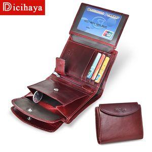 DICIHAYA Vintage Women Wallets Small Wallet Women Short Genuine Leather Women Wallets Purses Portefeuille Female Purse Clutch 201006
