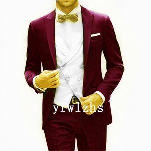 Classic One Button Handsome Groomsmen Peak Lapel Groom Tuxedos Men Suits Wedding Prom Best Man Blazer ( Jacket+Pants+Vest+Tie) W585