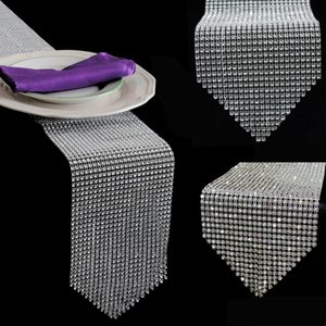 1pcs Gold Silver Diamond Mesh Table Runner Crystal Rhinestone Ribbon Bling Sparkly Wrap Wedding Christmas Decoration for Home 201023