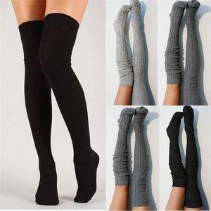 الجوارب الجوارب النساء كابل متماسكة اضافية طويلة التمهيد جورف على الركبة الفخذ الأهمية الفتيات الدافئة الأسهم التريكو جوارب