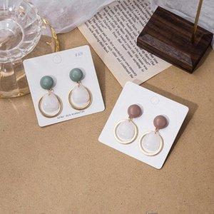 Kuziduocai 2020 Yeni Moda Güzel Takı Polisaj Akrilik Opal Metal Çember Gümüş Needle Drop Küpeler İçin Kadın E-635 Tays #