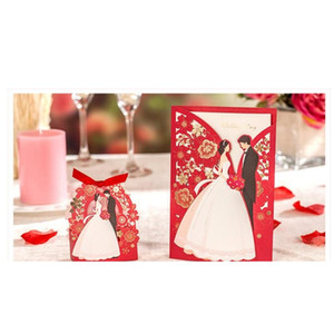 1 세트 레드 플로라 청첩장 카드 우아한 신부와 신랑 초대 카드 호의 봉투 웨딩 파티 장식 WJMC2