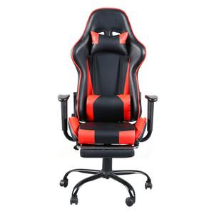 Footrest Tier Siyah Kırmızı ile Yüksek Geri Döner Sandalye Yarışı Oyun Sandalye Ofis Koltuğu