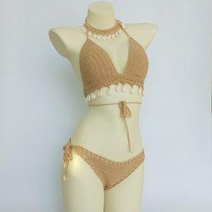 3шт набор Женщина вязание крючком скорлупы Tastry Top и Seashell Ankle цепи сексуальная стринги в глухие талии бикини дно бикини
